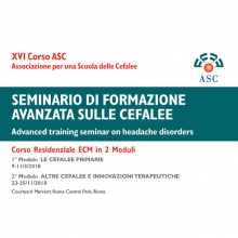 9-11/03/2018 Seminario di formazione avanzata sulle cefalee (XVI Corso Residenziale ASC)